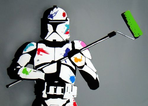 BANKSY - CLONE TROOPER COLOURS canvas print - self adhesive poster - photo print